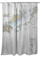 VI: British Virgin Islands Nautical Chart Shower Curtain