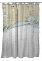 NC: Bogue Sound, NC Nautical Chart Shower Curtain