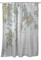 ME: Approaches to Blue Hill Bay, ME Nautical Chart Shower Curtain
