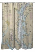 MD: Chesapeake Bay; Baltimore, Annapolis, Patuxent River, MD Nautical Chart Shower Curtain