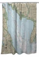 NJ-DE: Delaware Bay, NJ-DE Nautical Chart Shower Curtain