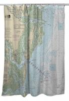 GA: St. Simons Island, Jekyll Island, Brunswick, GA Nautical Chart Shower Curtain