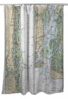 NC: Sunset Beach, Southport, NC Nautical Chart Shower Curtain