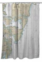 NH: Portsmouth Harbor, NH Nautical Chart Shower Curtain