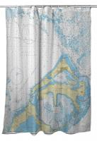 Eastern and Western Approaches to The Narrows, Bermuda Nautical Chart Shower Curtain