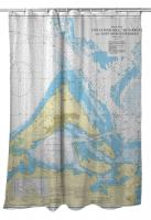 Five Fathom Hole, The Narrows, Saint George's Harbour, Bermuda Nautical Chart Shower Curtain