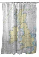 British Isles Nautical Chart Shower Curtain