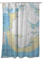 Great Sound and Little Sound, Bermuda Nautical Chart Shower Curtain