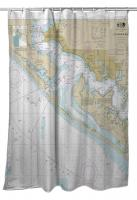 FL: Panama City, St. Andrew Bay, FL Nautical Chart Shower Curtain