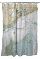 MS: Bay St. Louis, Pass Christian, Mississippi Sound, MS Nautical Chart Shower Curtain