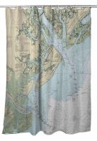 SC: Hilton Head Island, SC Nautical Chart Shower Curtain