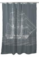 Vintage Ship Shower Curtain - White on Gray