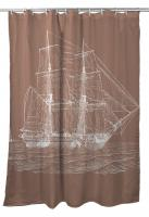 Vintage Ship Shower Curtain - White on Light Brown