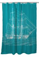 Vintage Ship Shower Curtain - White on Light Turquoise