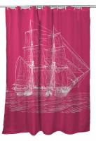 Vintage Ship Shower Curtain - White on Pink