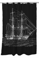 Vintage Ship Shower Curtain - White on Black