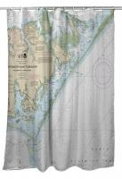 NC: Portsmouth Island to Beaufort, NC Nautical Chart Shower Curtain