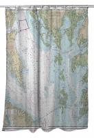 MD-VA: Chesapeake Bay - Smith Point to Cove Point, MD-VA Nautical Chart Shower Curtain