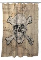 Skull & Crossbones Old World Nautical Chart Shower Curtain