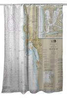 CA: San Diego, CA Nautical Chart Shower Curtain