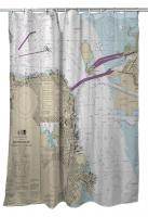 CA: San Francisco, CA Nautical Chart Shower Curtain