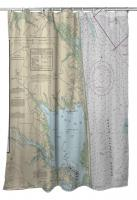 DE: Rehoboth Beach, DE Nautical Chart Shower Curtain