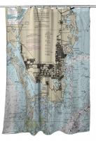 FL: St. Petersburg, FL Nautical Chart Shower Curtain