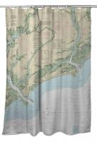 SC: Kiawah Island, SC Nautical Chart Shower Curtain
