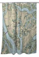 SC: Beaufort & Ladys Island, SC Nautical Chart Shower Curtain