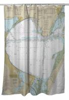 TX: Corpus Christi Bay, TX Nautical Chart Shower Curtain