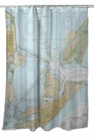 TX: Galveston, TX Nautical Chart Shower Curtain