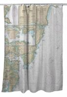 Portsmouth Harbor, NH Chart & Logo Shower Curtain
