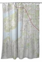 WI: Lake Geneva, WI Topo Map Shower Curtain