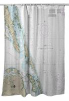 NC: Corolla to Bodie Island, NC Nautical Chart Shower Curtain