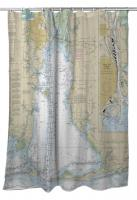 AL: Mobile, AL Nautical Chart Shower Curtain