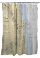 IL: Chicago Harbor, IL Nautical Chart Shower Curtain