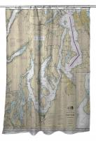 WA: Puget Sound Southern, WA Nautical Chart Shower Curtain