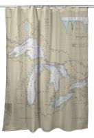 Great Lakes Nautical Chart Shower Curtain