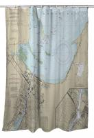 WI: Green Bay, WI Nautical Chart Shower Curtain