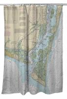 NC: Oak Island, Southport, Bald Head Island, NC Nautical Chart Shower Curtain