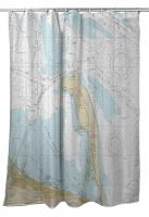 NJ: Sandy Hook, NJ Nautical Chart Shower Curtain