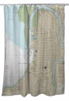 WA: Everett, WA Nautical Chart Shower Curtain