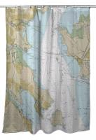 CA: Tiburon Peninsula, Angel Island, CA Nautical Chart Shower Curtain
