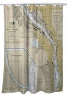 OR: Portland, OR Nautical Chart Shower Curtain