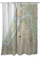 OR: Coos Bay, OR Nautical Chart Shower Curtain