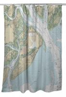 SC: Hilton Head Island, SC (Close Up) Nautical Chart Shower Curtain