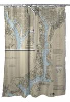 DC: Washington Harbor, DC Nautical Chart Shower Curtain