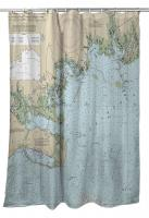 FL: Apalachee Bay, FL Nautical Chart Shower Curtain