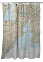 CT: New Haven Harbor, CT Nautical Chart Shower Curtain