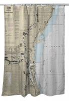 WI: Milwaukee, WI Nautical Chart Shower Curtain